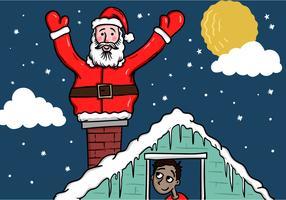 Père Noël sur le toit