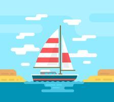 Illustration de bateau plat vecteur