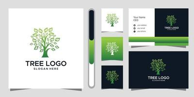 conception de logo d'arbre et carte de visite vecteur