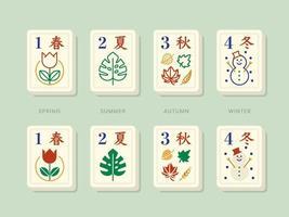 tuiles de mahjong saisons bonus vecteur