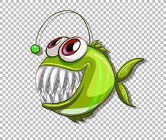 personnage de dessin animé de poisson pêcheur vert sur fond transparent vecteur