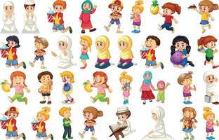 enfants faisant différentes activités de personnage de dessin animé sur fond blanc vecteur