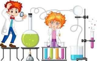 étudiant avec des éléments de chimie d'expérience vecteur