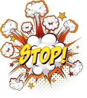 Arrêter le texte sur l'explosion de nuage comique isolé sur fond blanc vecteur