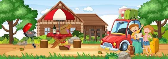scène en plein air avec un couple et une voiture de voyage vecteur