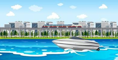 scène de ville fluviale avec un bateau rapide