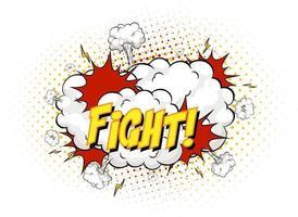 Combattre le texte sur l'explosion de nuage comique isolé sur fond blanc vecteur