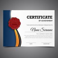 Diplôme de certificat élégant bleu vecteur