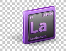 élément chimique de lanthane. symbole chimique avec numéro atomique et masse atomique.