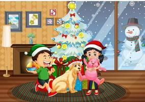 scène intérieure de noël avec de nombreux enfants et chiens mignons vecteur