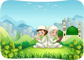 scène extérieure de parc avec le personnage de dessin animé de soeur et frère musulman vecteur