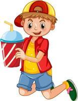 Un garçon tenant un personnage de dessin animé de tasse de boisson isolé sur fond blanc vecteur