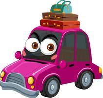 personnage de dessin animé de voiture vintage rose avec expression de visage sur fond blanc vecteur