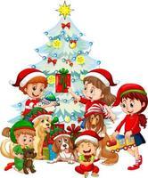 Groupe d'enfants avec leur chien portant des costumes de Noël sur fond blanc vecteur