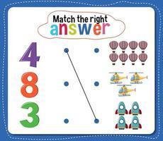faire correspondre la bonne activité de réponse pour les enfants vecteur