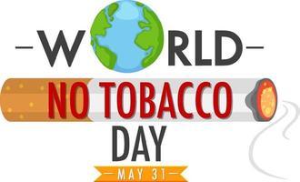 logo de la journée mondiale sans tabac avec du tabac brûlant avec de la fumée vecteur