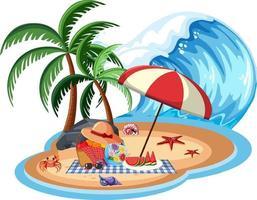 objet de plage sur l & # 39; île isolée vecteur
