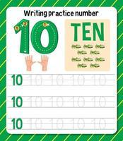 feuille de travail numéro 3 de la pratique d'écriture vecteur