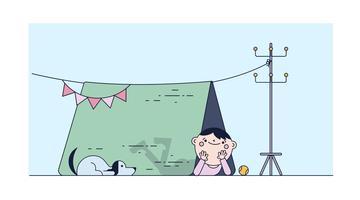 Jouer dans le vecteur de tente