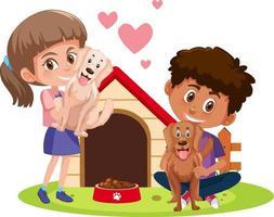 Enfants avec leurs animaux isolés sur fond blanc vecteur