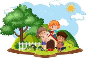 les enfants jouent avec un chien isolé vecteur