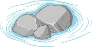 Groupe de pierres grises sur l'eau sur fond blanc vecteur