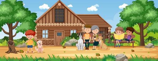 paysage de maison de campagne rurale vecteur