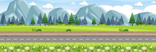 scène de route de nature rurale vecteur