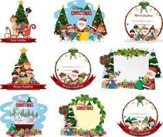 ensemble de carte postale de Noël vierge et logo isolé vecteur