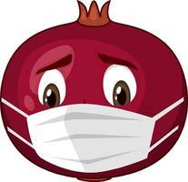 personnage de dessin animé de grenade avec expression faciale vecteur