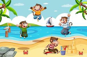 quatre petits singes sautant dans la scène de la plage vecteur