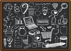 icône de médias sociaux dessinés à la main sur tableau noir vecteur