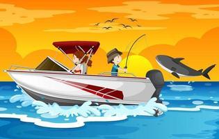 plage au coucher du soleil avec des enfants sur un bateau rapide vecteur