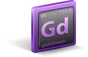 élément chimique gadolinium. symbole chimique avec numéro atomique et masse atomique.