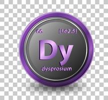 Élément chimique dysprosium. symbole chimique avec numéro atomique et masse atomique. vecteur