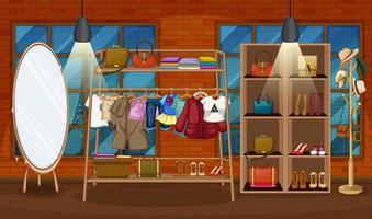 Vêtements suspendus sur un portant avec des accessoires sur des étagères dans la scène de la salle vecteur