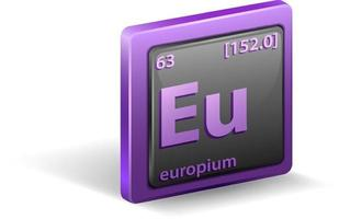élément chimique de l'europium. symbole chimique avec numéro atomique et masse atomique.