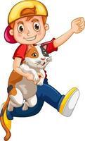 Un garçon tenant un personnage de dessin animé de chat mignon isolé sur fond blanc vecteur