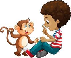 Garçon jouant avec un petit singe isolé sur fond blanc vecteur