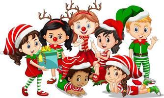 Les enfants portent un personnage de dessin animé de costume de Noël sur fond blanc vecteur