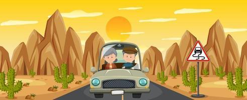 Couple de retraités au volant sur la route du désert vecteur