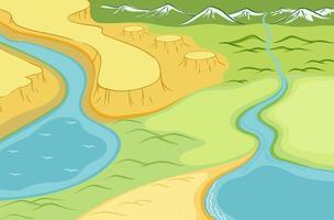 vue de dessus du paysage avec rivière vecteur