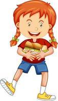 Une fille tenant un personnage de dessin animé de nourriture isolé sur fond blanc vecteur