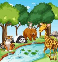 animaux sauvages dans la forêt à la scène de jour vecteur