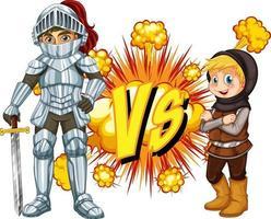 Deux chevaliers se battent sur fond blanc vecteur