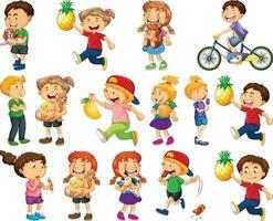 enfants faisant différentes activités jeu de caractères de dessin animé