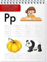 feuille de calcul de traçage alphabet avec lettre p et p