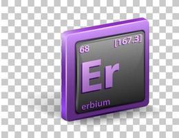 Élément chimique erbium. symbole chimique avec numéro atomique et masse atomique. vecteur