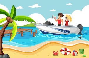 couple sur un bateau rapide dans la scène de la plage vecteur