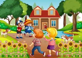 scène en plein air avec de nombreux enfants rendant visite à leurs amis vecteur